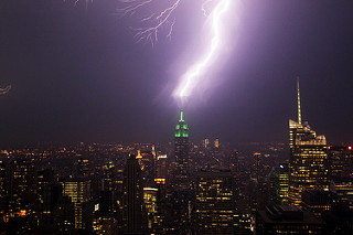 A Lightning bolt striking the Empire State Building