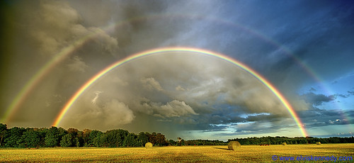 A rainbow stretching across the sky